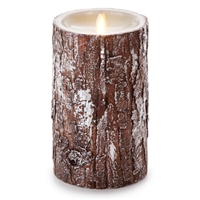 "Luminara - Flameless LED Candle - Silver Washed Bark - Indoor - Unscented Ivory Wax - Remote Ready - 4"" x 7"""