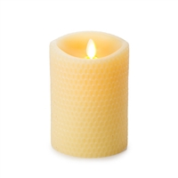 "Luminara - Flameless LED Candle - Embossed Yellow Beeswax - Indoor - Unscented Ivory Wax - Remote Ready - 3.5"" x 5"""
