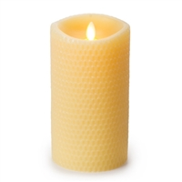 "Luminara - Flameless LED Candle - Embossed Yellow Beeswax - Indoor - Unscented Ivory Wax - Remote Ready - 3.5"" x 7"""