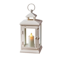 Luminara - Flameless LED Outdoor Candle Lantern - Ivory Metal w/ Glass Panes - 5.1875-Inches Square x 11-Inches Tall - Remote Ready