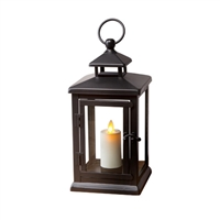 Luminara - Flameless LED Outdoor Candle Lantern - Black Metal w/ Glass Panes - 5.1875-Inches Square x 11-Inches Tall - Remote Ready