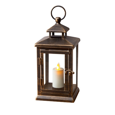 Luminara   Flameless LED Outdoor Candle Lantern   Bronze Metal W/ Glass  Panes   5.1875 Inches Square X 11 Inches Tall   Remote Ready