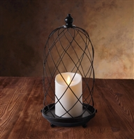 "Luminara - Flameless LED Outdoor Candle Lantern - Black Metal Birdcage - 7"" Diameter x  15"" Tall - Remote Ready"