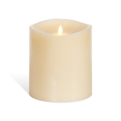"Luminara - Flameless LED Candle - 360-Degree Large Indoor Pillar - Unscented Ivory Wax - Remote Ready - 6"" x 6"""