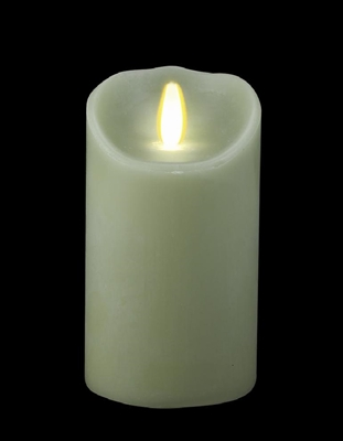 "Luminara - Flameless LED Candle - Indoor - Wax - Light Green - Remote Ready - 3.5"" x 7"""