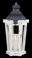 "Luminara - Flameless LED Candle Lantern - Antique White Winston Lantern - 9"" Wide x 20"" Tall"