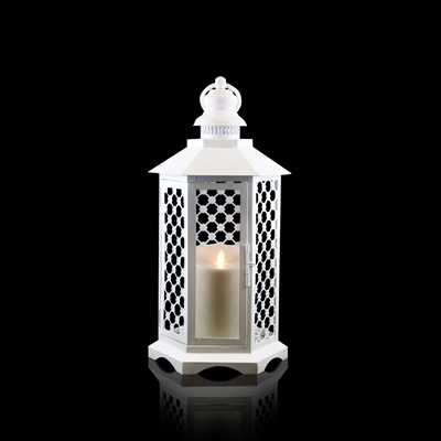 "Luminara - Flameless LED Candle Lantern - White Lattice Lantern - 16"" Tall - Remote Ready"