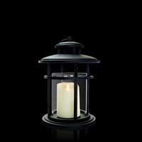 "Luminara - Flameless LED Candle Lantern - Black Cylinder Metal Lantern - 9.375"" Diameter x 13"" Tall - Remote Ready"