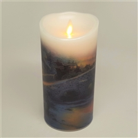 "Luminara - Thomas Kinkade Series - ""The Spirit of Christmas"" - Flameless LED Candle - Indoor - Wax - 3.5"" x 7"""
