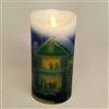 "Luminara - Thomas Kinkade Series - ""Holiday Cheer"" - Flameless LED Candle - Indoor - Wax - 3.5"" x 7"""