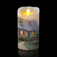 "Luminara - Thomas Kinkade Series - ""Foxglove Cottage"" - Flameless LED Candle - Indoor - Wax - 3.5"" x 7"""