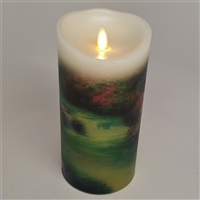 "Luminara - Thomas Kinkade Series - ""Beside Still Waters - Flameless LED Candle - Indoor - Wax - 3.5"" x 7"""
