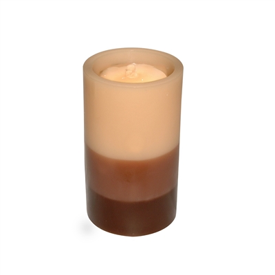 "AquaFlame - Flameless LED Candle Fountain - Indoor - Wax - Graduated Dark Brown to Beige - 5"" x 8.5"""
