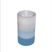 "AquaFlame - Flameless LED Candle Fountain - Indoor - Wax - Graduated Blue - 5"" x 8.5"""