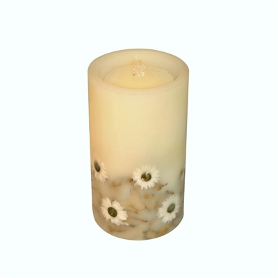 "AquaFlame - Flameless LED Candle Fountain - Indoor - Wax - Embedded Sunflowers - 5"" x 8.5"""