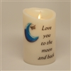 """Love You to the Moon and Back"" - Torchier Moving Flame - Flameless LED Candle - Indoor - Ivory Wax - Remote Ready - 3.5"" x 5"""