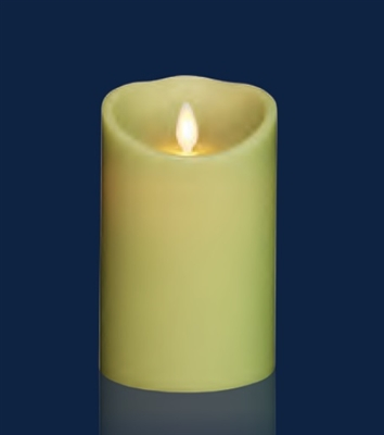 "Torchier Moving Flame - Flameless LED Candle - Indoor - Wax - Light Green - Remote Ready - 3.5"" x 5"""
