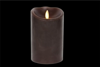 "Torchier Moving Flame - Flameless LED Candle - Indoor - Wax - Dark Brown - Sandalewood Scent - Remote Ready - 3.5"" x 5"""