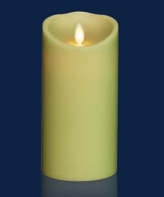 "Torchier Moving Flame - Flameless LED Candle - Indoor - Wax - Light Green - Remote Ready - 3.5"" x 7"""