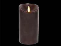 "Torchier Moving Flame - Flameless LED Candle - Indoor - Wax - Dark Brown - Sandalewood Scent - Remote Ready - 3.5"" x 7"""