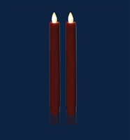 "Torchier Moving Flame - Flameless LED Taper Candles (Pair) - Indoor - Wax Coated - Red - 7/8"" x 10"" - Remote Ready"