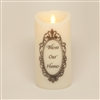 """Bless Our Home"" - Torchier Moving Flame - Flameless LED Candle - Indoor - Ivory Wax - Remote Ready - 3"" x 6"""