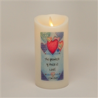 """The Greatest of These is Love"" - Torchier Moving Flame - Flameless LED Candle - Indoor - Ivory Wax - Remote Ready - 3"" x 6"""