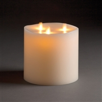 "LightLi By Liown - Tri-Flame Moving Flame - Flameless LED Candle - Indoor - Unscented Ivory Wax - Remote Ready - 6"" x 6"""