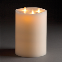 "LightLi By Liown - Tri-Flame Moving Flame - Flameless LED Candle - Indoor - Unscented Ivory Wax - Remote Ready - 6"" x 10"""