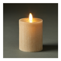 "LightLi by Liown - Moving Flame - Flameless LED Candle - Linen Sand Wax - Bluetooth App Ready - Remote Ready - 3"" x 4.5"""