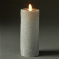 "LightLi by Liown - Moving Flame - Flameless LED Candle - Linen Harbor Gray Wax - Bluetooth App Ready - Remote Ready - 3"" x 8"""