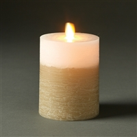 "LightLi by Liown - Moving Flame - Flameless LED Candle - Two-Tone Distressed Fawn & White Wax - Bluetooth App Ready - Remote Ready - 3.5"" x 5"""