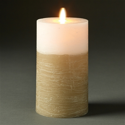 "LightLi by Liown - Moving Flame - Flameless LED Candle - Two-Tone Distressed Fawn & White Wax - Bluetooth App Ready - Remote Ready - 3.5"" x 7"""