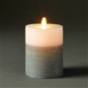 "LightLi by Liown - Moving Flame - Flameless LED Candle - Two-Tone Distressed Gray & White Wax - Bluetooth App Ready - Remote Ready - 3.5"" x 5"""