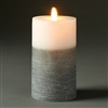 "LightLi by Liown - Moving Flame - Flameless LED Candle - Two-Tone Distressed Gray & White Wax - Bluetooth App Ready - Remote Ready - 3.5"" x 7"""