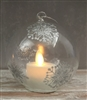 Mystique by Liown - Silver Snowflake Ornament With Moving Flame LED Tealight - 3.5-Inch Diameter Globe