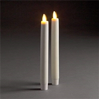 "LightLi by Liown - Moving Flame - Flameless LED Taper Candles (Pair) - Indoor - Unscented Ivory Wax - Remote Ready - 1"" x 8.5"""