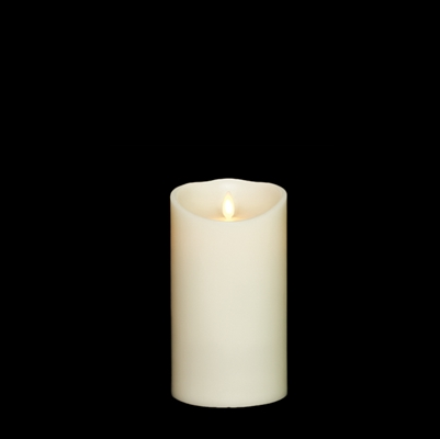 "Liown - Moving Flame - Flameless LED Candle - Indoor - Ivory Unscented Wax - Remote Ready - 4"" x 7"""
