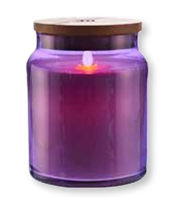 "LightLi by Liown - Moving Flame LED Candle - Purple Glass Jar w/ Wooden Lid - Vanilla Scented Ivory Wax - Bluetooth App & Remote Ready - 4"" x 5.5"""