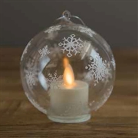 LightLi by Liown - White Snowflake Ornament With Moving Flame LED Tealight - 3.5-Inch Diameter Globe - Remote Ready