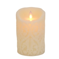 "Mystique - Flameless LED Candle - Indoor - Wax - Ivory Damask - 3.5"" x 5"""