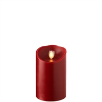 "Liown - Moving Flame - Flameless LED Candle - Indoor - Red Wax - Cinnamon Scented - Remote Ready - 3.5"" x 5"""