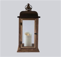 "LightLi - Moving Flame LED Candle Lantern - Wood & Metal Construction w/ Glass Panes - 8"" x 8"" x 17.5"" - Remote Ready"