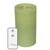 "AquaFlame - Flameless LED Candle Fountain - Light Green Colored Wax - Fresco Finish - 4.2"" x 7.8"" - Remote Control"