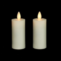 Liown - Moving Flame - Flameless LED Candles - Pair of 2-Inch x 3.5-Inch Votives - Indoor - Real Ivory Unscented Wax - Remote Ready