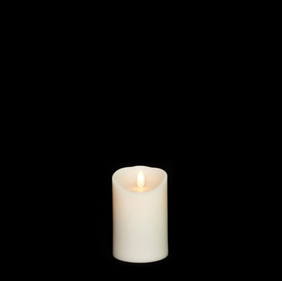 "Liown - Moving Flame - Flameless LED Candle - Indoor - Ivory Wax - Vanilla Scented - Remote Ready - 3"" x 4"""