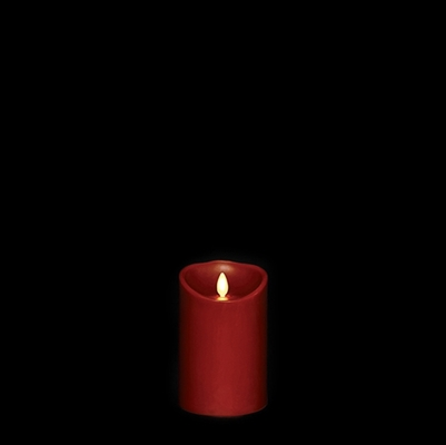 "Liown - Moving Flame - Flameless LED Candle - Indoor - Red Wax - Cinnamon Scented - Remote Ready - 3"" x 4"""