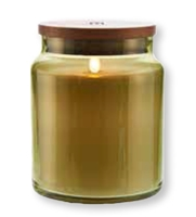 "LightLi by Liown - Moving Flame LED Candle - Green Glass Jar w/ Wooden Lid - Vanilla Scented Ivory Wax - Bluetooth App & Remote Ready - 4"" x 5.5"""