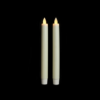 "Liown Moving Flame - Flameless LED Taper Candles (Pair) - Indoor - Unscented Ivory Wax - 7/8"" x 8"" - Remote Ready"