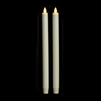 "Liown Moving Flame - Flameless LED Taper Candles (Pair) - Indoor - Unscented Ivory Wax - 7/8"" x 12"" - Remote Ready"